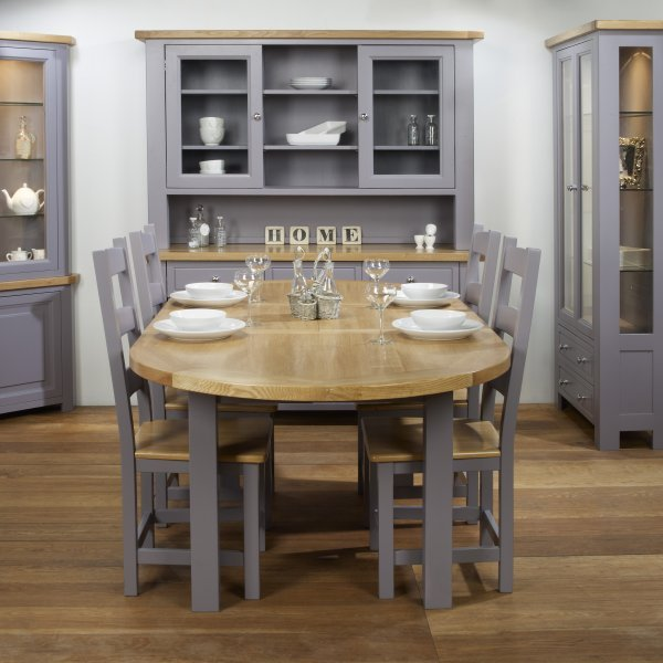 Charltons Bretagne Painted Lacquered Oak Oval Extending Dining Table