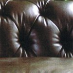 Contrast Upholstery Chatsworth Chesterfield sofa back in Old Saddle Walnut leather