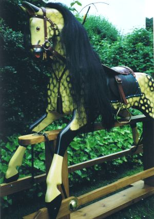 Large Rocking Horse in Antique Creme / Black Dapple Lacquered Finish