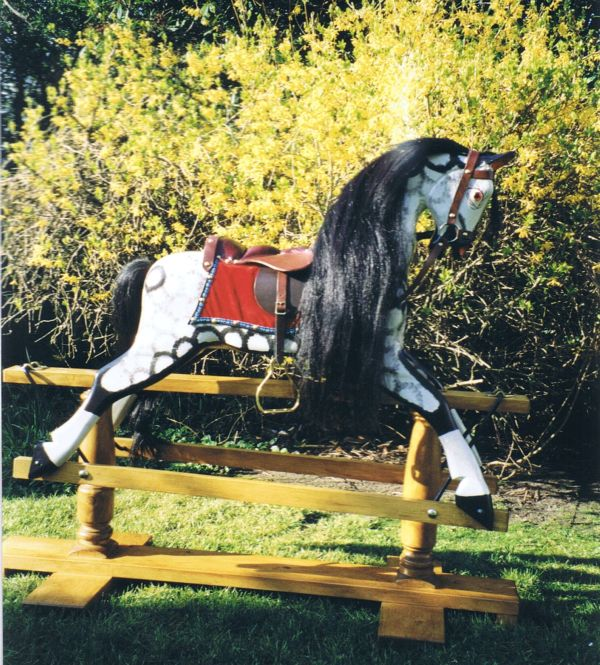 Medium Sized Collinson Rocking Horse in Traditional White / Black Dapple Grey Lacquered Finish