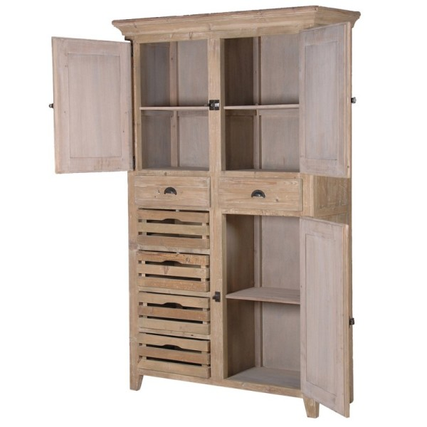 Distressed Pine Multi-Storage Cupboard - Shown here with the doors open