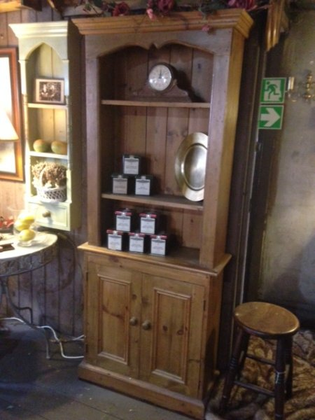 Old Pine 2 Door Bookcase on display in our Southport furniture showrooms