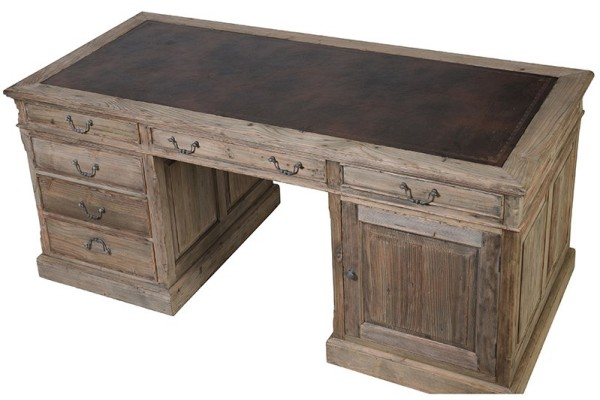 Colonial reclaimed pine partner desk shown here looking down onto the leather top