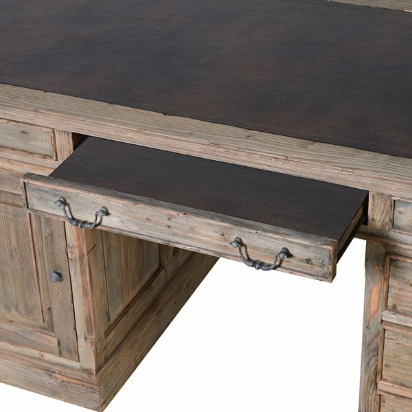 Colonial reclaimed pine partner desk shown here focusing on the leather covered pull out keyboard / writing rest