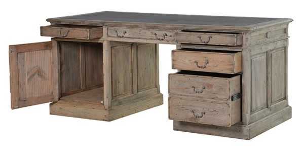 Colonial reclaimed pine partner desk shown here with the left hand side cupboard door open and the drawers open