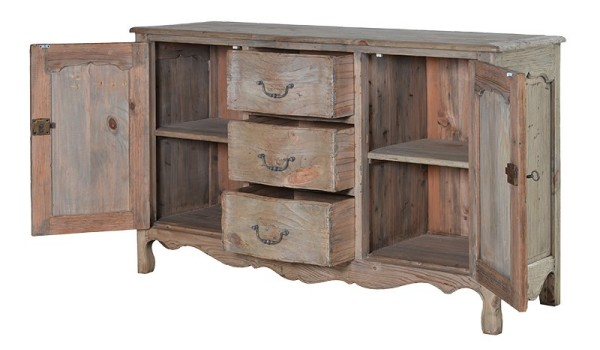 Colonial reclaimed pine sideboard shown here with the sideboard doors open and 3 central drawers partially open