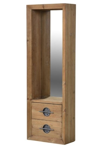 Tall Wood 2 Drawer Mirror