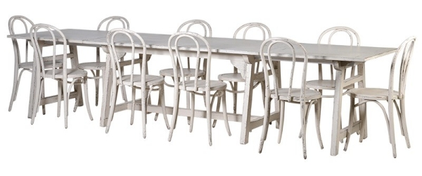 Off-White Distressed  Extending Dining Table & Off-White Distressed Dining Chairs
