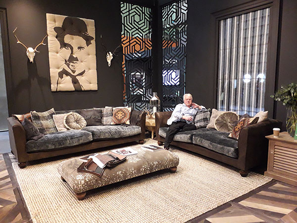 c2f5a5501f6c2 Mr Harvest Moon trying out the Tetrad Lowry Midi Sofa, also shown is the  Grand